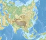carte en relief du continent asiatique