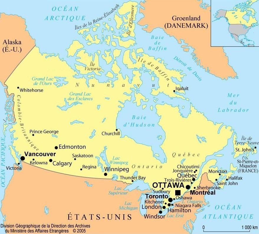 Carte Ouest Canadien Et Americain.Canada Informations Sur Le Pays Et Cartes