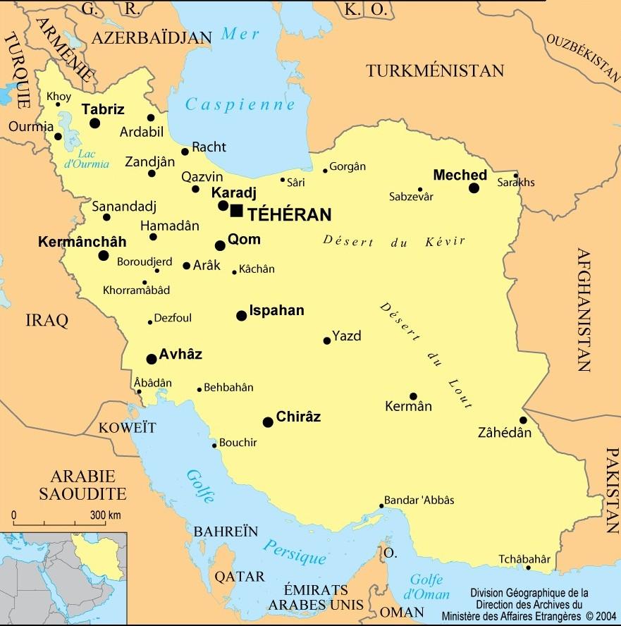 Iran : situation géographique, cartes et drapeau