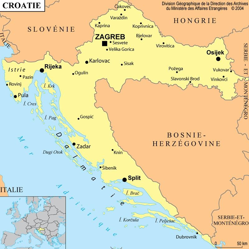 Croatie : informations, cartes du pays et drapeau croate