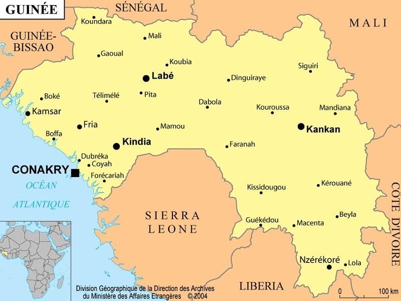 carte de la guinée Informations et cartes sur la Guinée   Atlas Monde