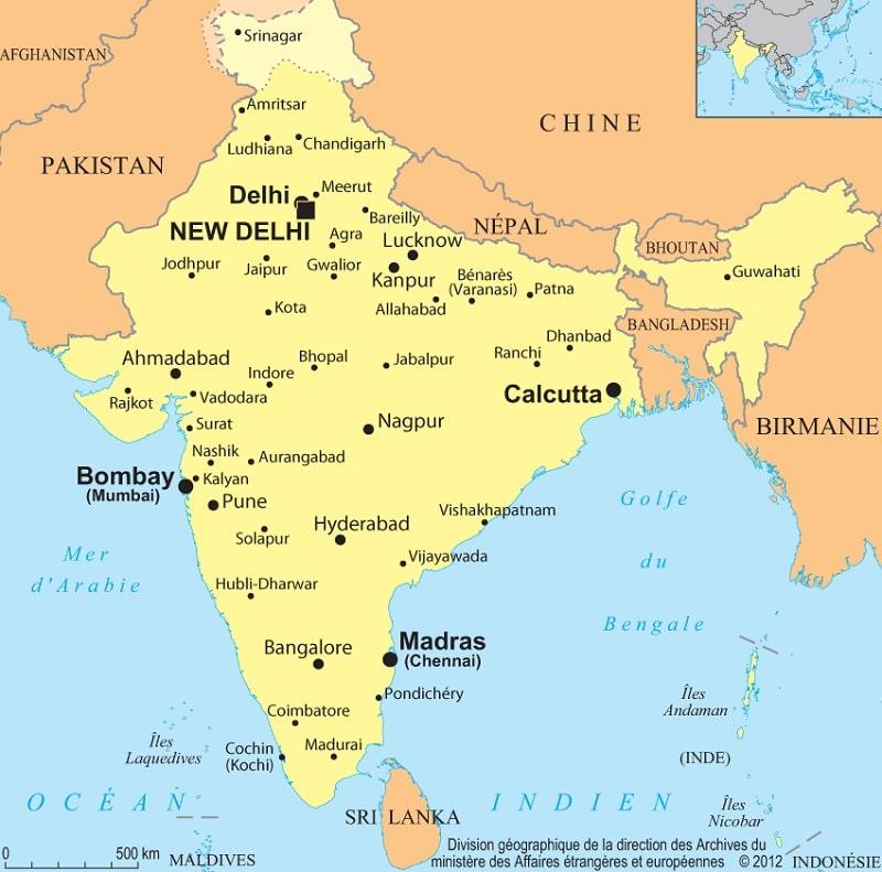 Carte De Linde De Louest.Carte Et Informations Sur L Inde