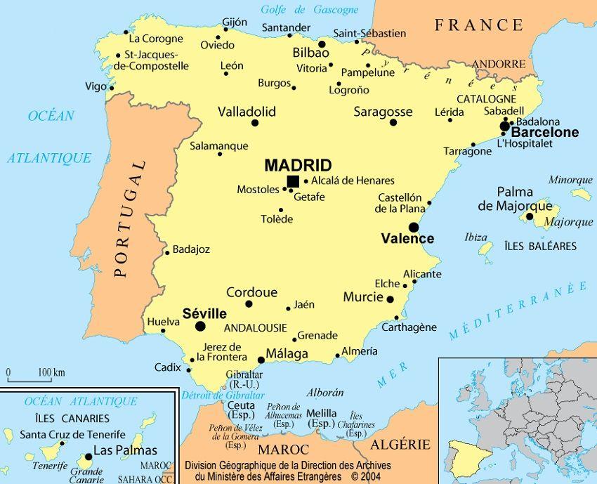 Carte Espagne Nord Est.Informations Sur L Espagne Cartes Et Drapeau Officiel