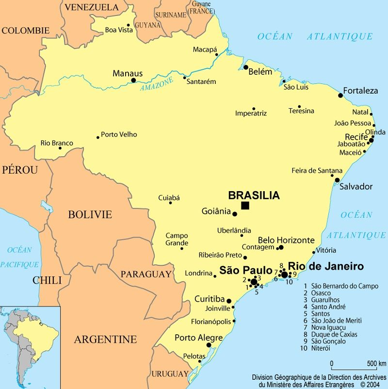Carte Amerique Latine Avec Fleuves.Cartes Du Bresil Et Informations Sur Le Pays