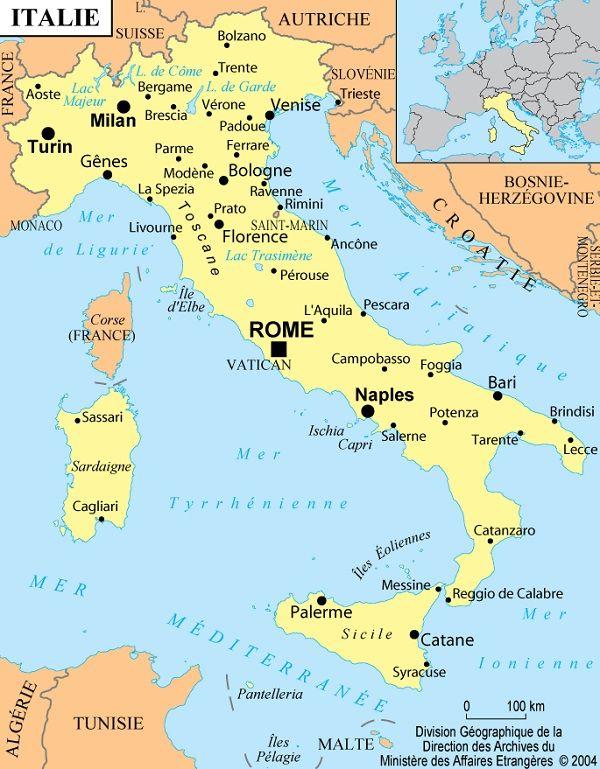 Cartes de l'Italie et informations sur le pays